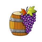Illustrazione di schizzo su fondo bianco Illustrazione di vettore Oggetto isolato Barilotto di legno di vettore con vino Abbozzo  illustrazione vettoriale