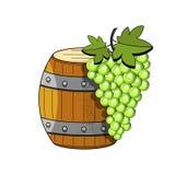 Illustrazione di schizzo su fondo bianco Illustrazione di vettore Oggetto isolato Barilotto di legno di vettore con vino Abbozzo  royalty illustrazione gratis