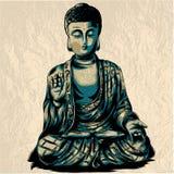 Illustrazione di schizzo di vettore con Buddha Dissipare a mano Stile di Boho Uso per i manifesti, cartoline, stampa per la magli illustrazione di stock