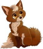 Illustrazione di seduta del fumetto ambrato sveglio della volpe con la coda lanuginosa isolata sul fondo bianco illustrazione vettoriale