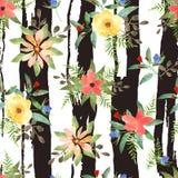 Illustrazione di senza cuciture floreale Fiori variopinti con le strisce Fotografie Stock