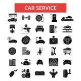 Illustrazione di servizio dell'automobile, linea sottile icone, segni piani lineari, simboli di vettore illustrazione vettoriale