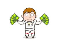 Illustrazione di Showing Money Vector dell'astronauta del fumetto Royalty Illustrazione gratis