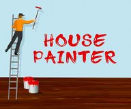 Illustrazione di Shows Home Painting 3d dell'imbianchino royalty illustrazione gratis