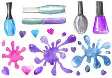 Illustrazione di smalto e un insieme delle macchie illustrazione di stock