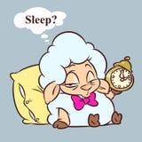 Illustrazione di sogno del fumetto di insonnia dell'agnello fotografie stock