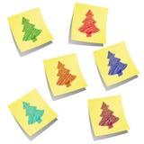 Illustrazione di Stikkery con gli alberi di Natale colorati Fotografie Stock Libere da Diritti