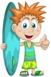 Illustrazione di stile del fumetto del carattere del surfista del bambino del ragazzo Fotografie Stock