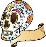 Illustrazione di stile del tatuaggio del cranio di festival Fotografia Stock