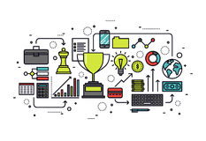 Illustrazione di stile di linea di business di crescita Fotografia Stock