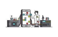 Illustrazione di stile di linea di trattamento di ricerca di App Immagini Stock Libere da Diritti