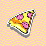 Illustrazione di stile di Pop art dell'autoadesivo del perno del distintivo della toppa di modo della fetta della pizza Fotografie Stock Libere da Diritti