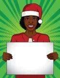 Illustrazione di stile di Pop art di vettore di colore Donna di affari che tiene un manifesto in bianco Donna afroamericana che p illustrazione di stock