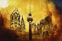 Illustrazione di struttura di arte di Berlino Fotografie Stock