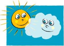 Illustrazione di Sun e della nube Fotografia Stock Libera da Diritti