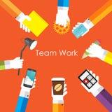 Illustrazione di Team Work Flat Concept Vector Fotografia Stock Libera da Diritti