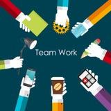 Illustrazione di Team Work Flat Concept Vector Immagine Stock Libera da Diritti