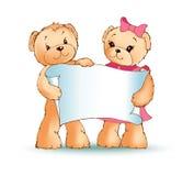 Illustrazione di Teddy Bears Holding Placard Vector Fotografie Stock