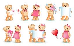 Illustrazione di Teddy Bears Set Valentine Vector Immagini Stock Libere da Diritti