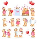 Illustrazione di Teddy Bears Set Valentine Vector Immagine Stock