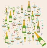 Illustrazione di tema del modello del partito di Champagne Fotografia Stock