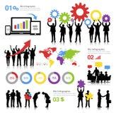 Illustrazione di tema di affari globali con Infographics Immagine Stock Libera da Diritti