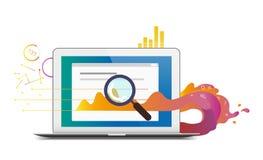 Illustrazione di tema piana di analisi commerciale o di rapporto di vettore Fotografia Stock Libera da Diritti
