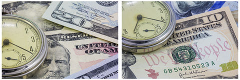 Illustrazione di tempo dei contanti dell'orologio da tasca Fotografia Stock Libera da Diritti