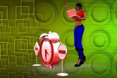 illustrazione di tempo della donna 3D Fotografia Stock