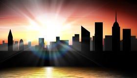 Illustrazione di tramonto della città Immagine Stock