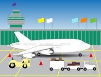Illustrazione di un aeroporto con un'immagine dell'aereo su landin Immagine Stock Libera da Diritti