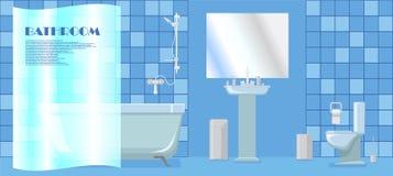 Illustrazione di un bagno in uno stile minimalista Immagine Stock Libera da Diritti