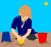 Illustrazione di un bambino in sabbia Immagini Stock Libere da Diritti