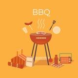 Illustrazione di un barbecue all'aperto Immagini Stock