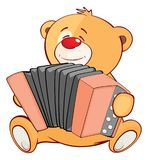 Illustrazione di un carattere farcito di Toy Bear Cub Accordionist Cartoon Fotografia Stock