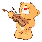 Illustrazione di un carattere farcito di Toy Bear Cub Violinist Cartoon Fotografie Stock