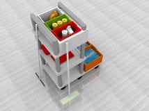 Illustrazione di un carrello di pulizia Immagini Stock