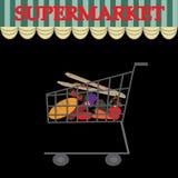 Illustrazione di un carrello in pieno della frutta e delle verdure Fotografia Stock
