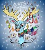 Illustrazione di un cervo di natale Fotografia Stock