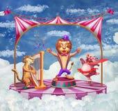 Illustrazione di un circo con la tenda ed i vari animali Fotografie Stock Libere da Diritti