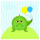 Illustrazione di un coccodrillo sveglio del fumetto con i palloni e con i vetri Fotografia Stock
