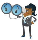 Compagno della donna di affari con il suo binocolo enorme Immagini Stock Libere da Diritti