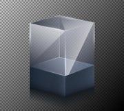 illustrazione di un cubo realistico, trasparente, di vetro isolato su un fondo grigio Fotografie Stock