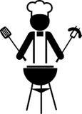 Illustrazione di un cuoco unico che fa bbq -1 Immagine Stock