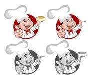 Illustrazione di un cuoco unico sorridente felice del fumetto in a  Fotografia Stock