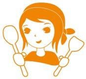 Illustrazione di un cuoco unico sorridente felice del fumetto Immagini Stock Libere da Diritti