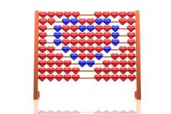 Illustrazione di un cuore blu - dell'abaco rappresentazione 3d - isolato su fondo bianco Fotografia Stock