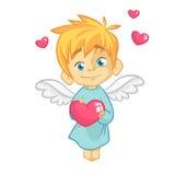 Illustrazione di un cupido del bambino che abbraccia un cuore Illustrazione del fumetto del carattere del cupido per il giorno de fotografia stock