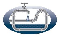 Disegno dell'impianto idraulico del rubinetto della sgocciolatura Fotografie Stock Libere da Diritti