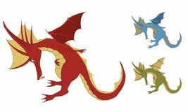 Illustrazione di un drago sveglio di curvatura illustrazione vettoriale
